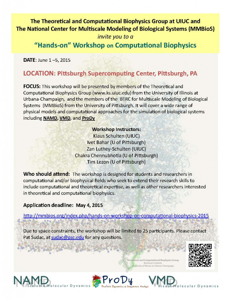 2015 Workshop on Computational Biophysics flyer
